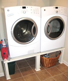 Savvy Chic Home: Easy Washer and Dryer Stand Tutorial. Wine thing a bit sturdier than this could work for me! Washer And Dryer Stand, Washer And Dryer Pedestal, Laundry Pedestal, Laundry Room Remodel, Laundry In Bathroom, Laundry Rooms, Laundry Closet, Bathroom Renos, Bathrooms