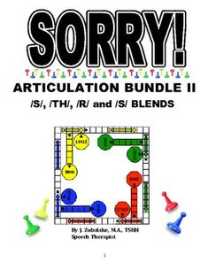 SORRY! ARTICULATION Game Cards BUNDLE II for /S/, /TH/, /R