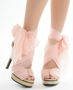 Baby Pinky Peach Ribbon Shoes~