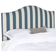Periwinkle Blue Upholstered Headboards And Bed Skirts On