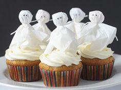 Lollipop ghost cupcake topper