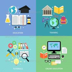 Business Education Concept by macrovector Business education concept training tutorial reading discussion online flat icons set isolated vector illustration. Editable EPS a