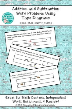 Addition and subtraction word problems using tape diagrams math tape diagrams are used to help students visualize the whole part and part to determine which operation is needed to solve each word problem ccuart Choice Image