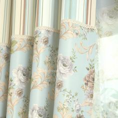 Polyester Country Style Printed Floral Room Darkening Curtain