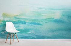 Turquoise Watercolour Wallpaper, custom made to suit your wall size by the UK'. Turquoise Watercolour Wallpaper, custom made to suit your wall size by the UK's for wall mur Teal Girls Rooms, Aqua Bedrooms, Girl Rooms, Teal Accent Walls, Teal Wallpaper Accent Wall, Wall Wallpaper, Turquoise Wallpaper, Living Room Turquoise, Watercolor Wallpaper