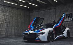 Scarica sfondi 4k, BMW i8, tuning, parcheggio, parcheggio gratuito, auto tedesche, BMW