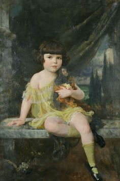 Douglas Volk (1856-1935), Young Girl in Yellow Dress Holding her Doll, private collection, oil on canvas, cm 116.8×76.2