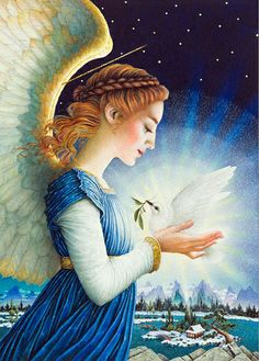 Archangel Haniel - the angel of moonlight, healing, feminine energy, purity Christmas Angels, Christmas Art, Christmas Paintings, Archangel Haniel, Angel Protector, I Believe In Angels, My Guardian Angel, Angels Among Us, Angels On Earth