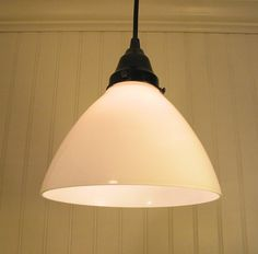 "Calais Port II. Milkglass PENDANT Light | LampGoods on Etsy ($65.00 each)––8"" diameter shades. Over the peninsula?"