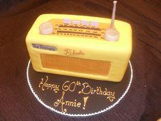 Yellow radio birthday cake