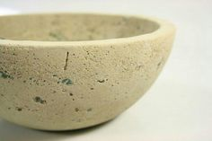 Cast concrete bowl with reclaimed glass