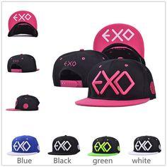 Hot ! EXO Adjustable unisex Embroidery Snapback caps flat brim Baseball Cap Flat Cap Hip Hop Hat free shipping