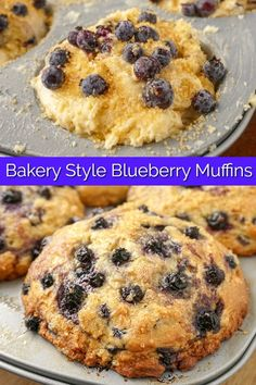 Big, moist, perfectly baked blueberry muffins with a distinct crispy edged muffin top. Just like your favourite bakery muffins! Rock Recipes, Gourmet Recipes, Baking Recipes, Dessert Recipes, Cereal Recipes, Muffin Recipes, Breakfast Recipes, Breakfast Muffins, Bran Muffins