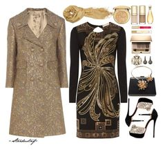 """""""*party* - Gold"""" by stardustnf ❤ liked on Polyvore featuring Michael Kors, Emilio Pucci, Lanvin, Lulu Frost, MUNNU The Gem Palace, Christian Louboutin, Clarins, Burberry, Stila and Dolce&Gabbana"""