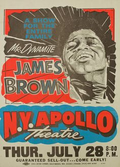 Classic 1960s James Brown at the Apollo Concert Poster
