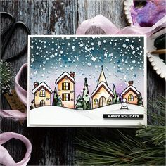 Doodling with Debby: Watercolored Winter Scene - Simon Says Stamp Blog