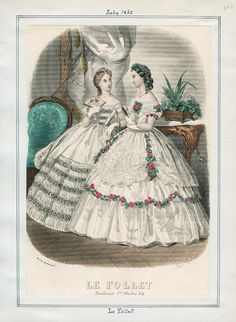 Le Follet, July 1862. LAPL Visual Collections. Civil War Era Fashion Plate