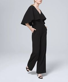 Black Badgley Mischka Cape-Sleeve Popover Jumpsuit - Women #zulily #zulilyfinds