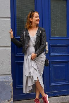Leather jacket, grey maxi dress and suede burgundy Puma sneakers