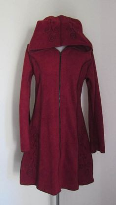 PIXIE HOODED   Handmade Long Jacket by isoleynz on Etsy