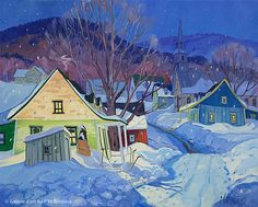 'Village d'antan' by Louise Martineau Canadian Painters, Canadian Artists, Winter Painting, Winter Art, Art Et Architecture, Primitive Folk Art, Australian Art, First Art, Naive Art