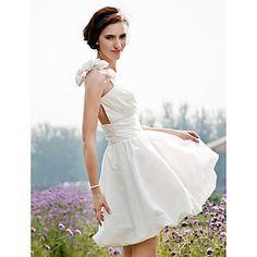 Lanting+Bride®+A-line+/+Princess+Petite+/+Plus+Sizes+Wedding+Dress+-+Chic+&+Modern+/+Reception+See-Through+Wedding+Dresses+Short+/+Mini+–+AUD+$+100.09