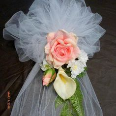 Pink Rose Pew Bows - Pew Decorations - tiebacks for Arbor - Wedding decorations - Julie Butler Creations Church Wedding Flowers, Wedding Pews, Neutral Wedding Flowers, Wedding Wreaths, Church Aisle Decorations, Wedding Pew Decorations, Tulle Bows, Deco Floral, Dream Wedding