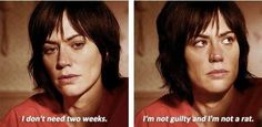 Tara Sons of Anarchy Maggie Siff 6.02//AND she wasn't a rat no matter what the haters thought. Jax would never have given the okay for her death and Tara would never have ratted on the thing her husband loved the most.