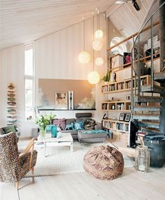 Modern - eclectic living space with great bookshelves and lighting.
