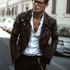 New glasses outfit men jackets ideas Brown Leather Jacket Men, Studded Leather Jacket, Leather Jacket Outfits, Vintage Leather Jacket, Biker Leather, Leather Men, Classic Leather Jacket, Real Leather, Leather Jackets