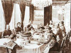 Franz Josef I and his family at the dinner in the imperial villa in Bad Ischl, 1890 ______________________________ Franz Josef I. und seine Familie beim Diner in der kaiserlichen Villa in Bad Ischl, 1890