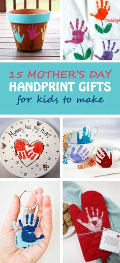 15 Mother's Day handprint gifts for kids to make for mothers and grandmothers. Easy and fun crafts for toddlers, preschoolers and kindergartners. Handprint keepsake gifts | at Non-Toy Gifts