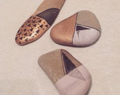 3 set Minimalist hand painted rocks /// spirit stones /// zen garden decor