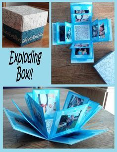 Lovely exploding photo box ♥ Made one of these for my German exchange partner . - Lovely exploding photo box ♥ Made one of these for my German exchange partner last year :]: - Valentine Day Cards, Valentine Day Gifts, Valentine Ideas, Homemade Valentines Gifts For Him, Valentines Day Care Package, Boite Explosive, Birthday Message For Boyfriend, Surprise Boyfriend, Boyfriend Presents