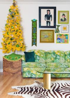 60's groovy yellow Christmas tree and floral couch