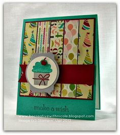 Be Creative with Nicole: A Birthday Card for TSSC284 Birthday Basics DSP, Create a Cupcake, Deco Label Framelit More details at: http://becreativewithnicole.blogspot.com
