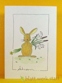 Entschuldigung - Glückwunschkarte Hase individuell handgemalt - ein Designerstück von blattwerkstatt bei DaWanda