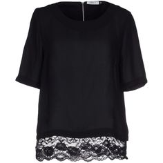 Only Blouse ($35) ❤ liked on Polyvore featuring tops, blouses, black, lace blouse, black short sleeve blouse, lacy black top, short sleeve blouse and black top