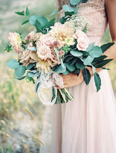 I love dense greenery in a bouquet -- eucalyptus, bay leaves, or jasmine vine get me every time.