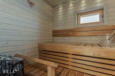 Vaaleasävyinen puupinta luo tyylikkään ilmeen saunatilaan. Klikkaa kuvaa, niin näet tarkemmat tiedot! Decor, Furniture, Outdoor Decor, Home, Outdoor Furniture, Sauna, Inspiration, Bench, Renovations