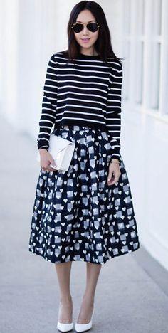Modest knee length heart print midi below knee skirt | Shop Mode-sty