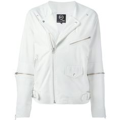 McQ Alexander McQueen Zip Sleeve Biker Jacket ($1,096) ❤ liked on Polyvore featuring outerwear, jackets, white, white moto jacket, button jacket, motorcycle jacket, lambskin leather jacket and white jacket