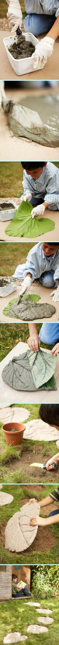 Lay out a piece of contractor's paper or a drop cloth to serve as a work surface. Place your selected leaves facedown.In a bucket or pail, mix two cups of cement with 1 cup of water to create a thick paste. Use a putty knife to spread the cement mixture. Apply a 1/2- to 1-inch-thick layer of the mixture to each leaf. Allow the cement to set for approximately two hours. Flip the mold over, and remove each leaf…