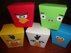 Angry Birds favor boxes using cardstock