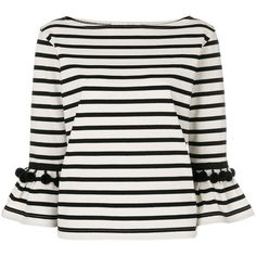 499f0ae56e3b Marc Jacobs Pompom-Embellished Striped Cotton-Jersey Top ( 295) ❤ liked on