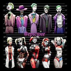 Joker, Harley Quinn, Riddler, and Penguin 4 Prints at discount price. - Joker und Harley Quinn Line-Ups. 2 11 x 17 Drucke von Epicwee - Joker Kunst, Joker Y Harley Quinn, Harley Queen, Comic Art, Comic Books, Comic Movies, Arte Dc Comics, Joker Art, Batman Universe