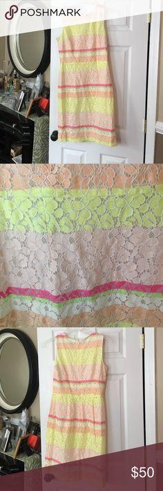 Ann Taylor dress Ann Taylor lace shift dress. Amazing summer colors! Ann Taylor Dresses