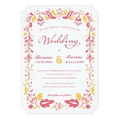 A summery warm folk inspired wedding invitation in peach, coral and yellow.