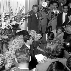 Audrey Hepburn and Mel Ferrer photographed by Giuseppe Palmas, during a news conference, The Grand Hotel, Rome, September 1954