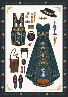 """fouatons/通販オープン中 on Twitter: """"民族衣装風刺繍ワンピース🏵… """" Vintage Fashion Sketches, Fashion Design Drawings, Anime Outfits, Cool Outfits, Kleidung Design, Estilo Lolita, Estilo Anime, Drawing Clothes, Character Outfits"""
